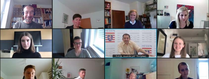 Screenshot vom virtuellen Treffen des Kultusministers mit Schüler*innen des 'hsaka barcamp 2020 (am 30. Juni 2021)